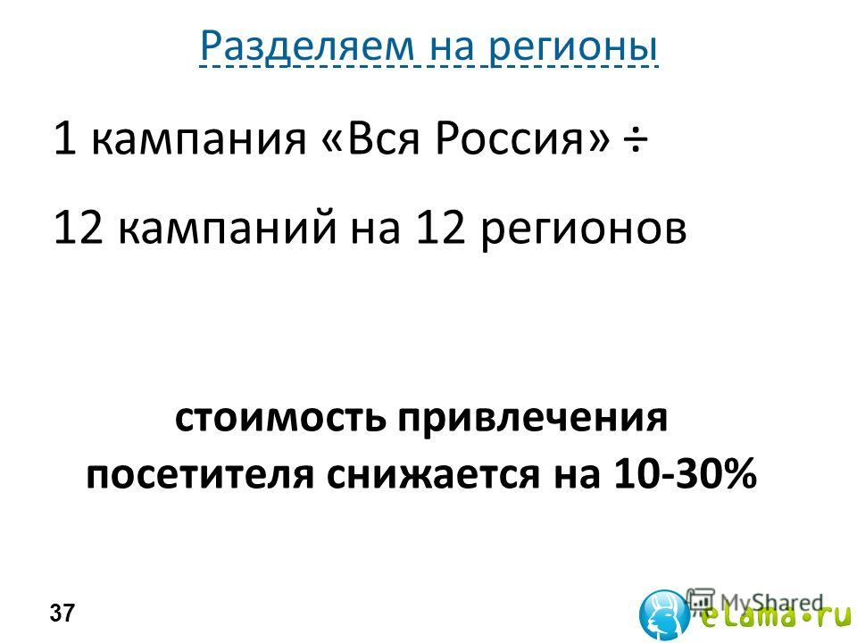 Разделяем на регионы 1 кампания «Вся Россия» ÷ 12 кампаний на 12 регионов 37 стоимость привлечения посетителя снижается на 10-30%