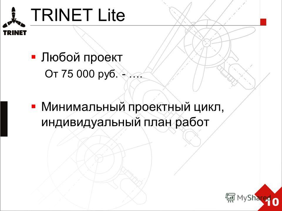 TRINET Lite Любой проект От 75 000 руб. - …. Минимальный проектный цикл, индивидуальный план работ 10
