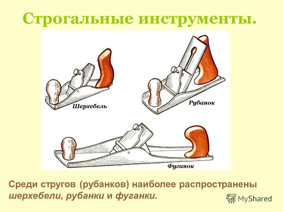 Строгальные инструменты. Среди стругов (рубанков) наиболее распространены шерхебели, рубанки и фуганки.