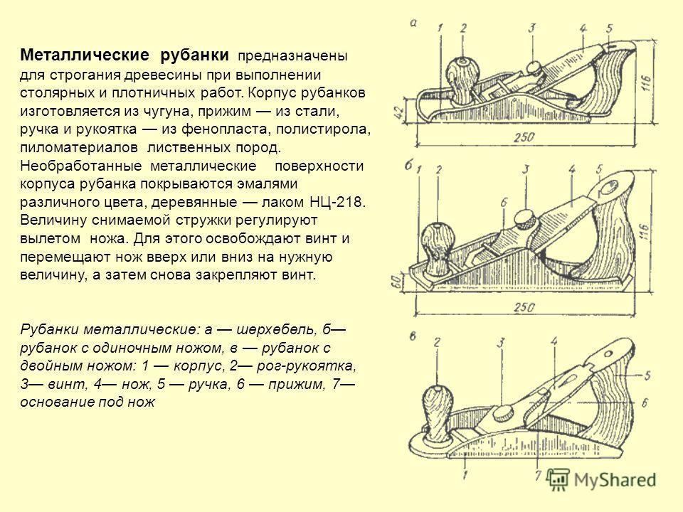 Металлические рубанки предназначены для строгания древесины при выполнении столярных и плотничных работ. Корпус рубанков изготовляется из чугуна, прижим из стали, ручка и рукоятка из фенопласта, полистирола, пиломатериалов лиственных пород. Необработ