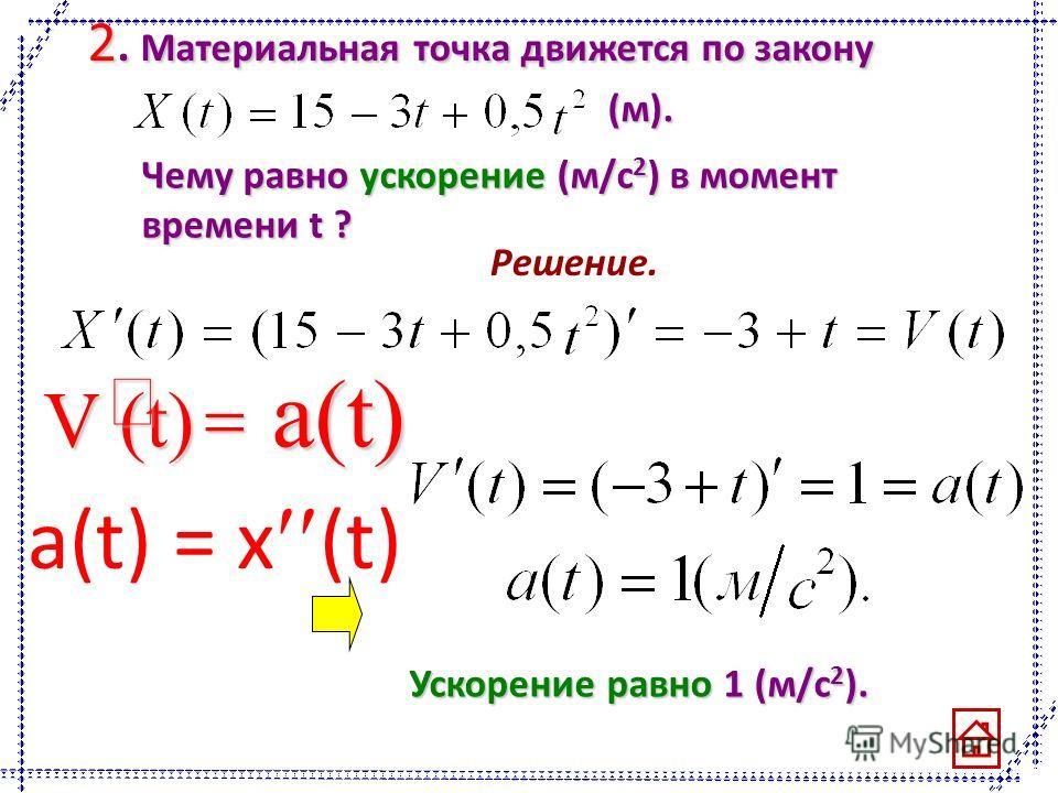 2. Материальная точка движется по закону (м). Чему равно ускорение (м/с 2 ) в момент времени t ? Решение. V (t) a(t) Ускорение равно1 (м/с 2 ). Ускорение равно 1 (м/с 2 ). a(t) = x (t)