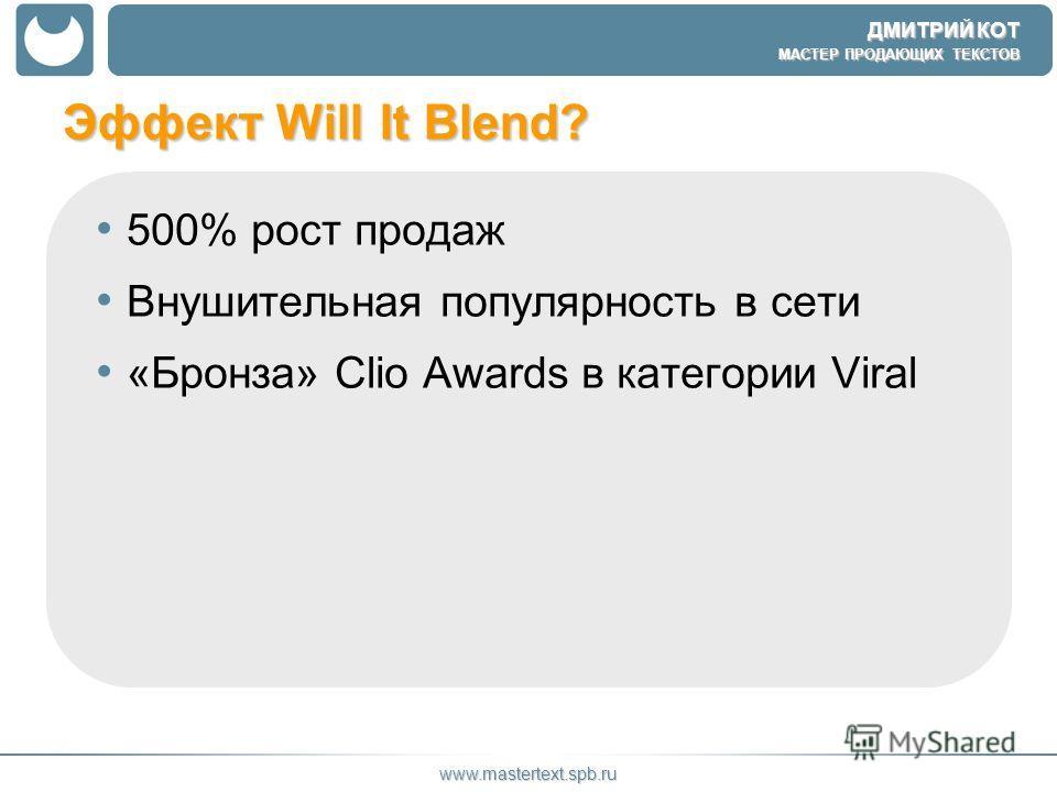 ДМИТРИЙ КОТ МАСТЕР ПРОДАЮЩИХ ТЕКСТОВ www.mastertext.spb.ru Эффект Will It Blend? 500% рост продаж Внушительная популярность в сети «Бронза» Clio Awards в категории Viral