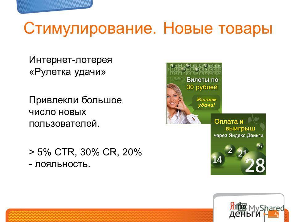 Стимулирование. Новые товары Интернет-лотерея «Рулетка удачи» Привлекли большое число новых пользователей. > 5% CTR, 30% CR, 20% - лояльность.