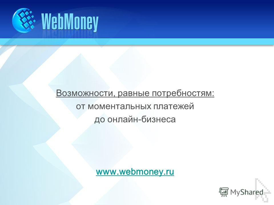 Возможности, равные потребностям: от моментальных платежей до онлайн-бизнеса www.webmoney.ru
