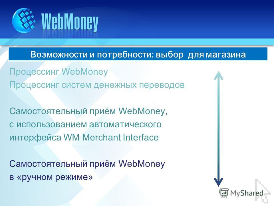 Процессинг WebMoney Процессинг систем денежных переводов Самостоятельный приём WebMoney, с использованием автоматического интерфейса WM Merchant Interface Самостоятельный приём WebMoney в « ручном режиме » Возможности и потребности: выбор для магазин