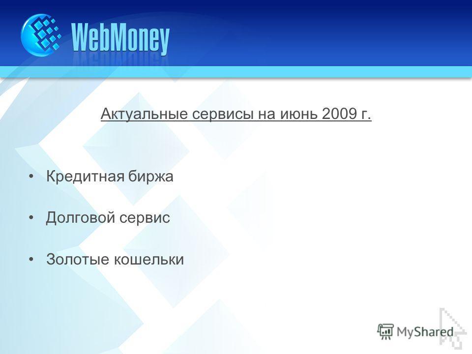 Актуальные сервисы на июнь 2009 г. Кредитная биржа Долговой сервис Золотые кошельки