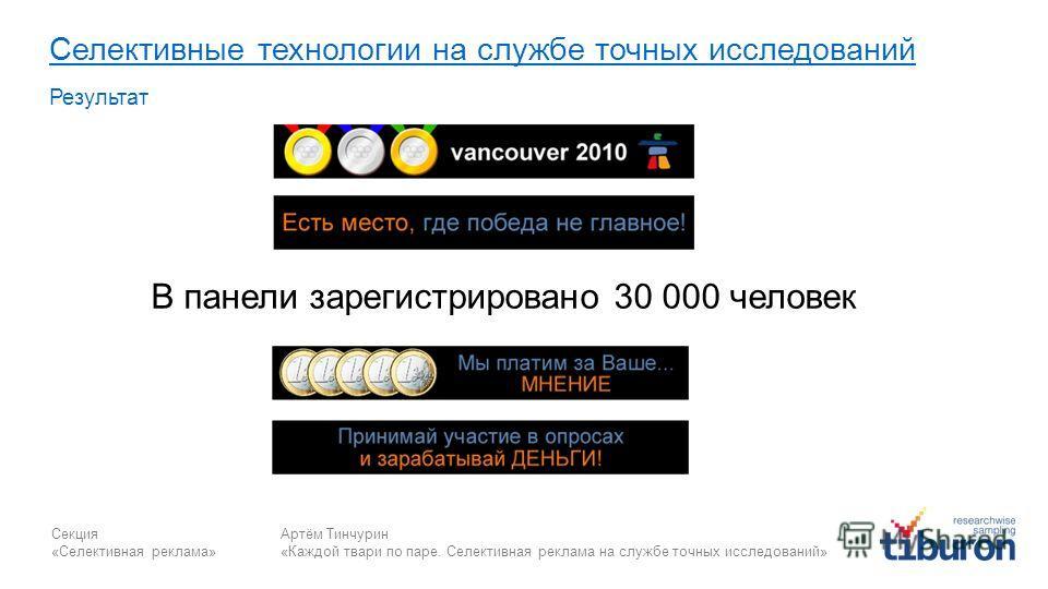Секция «Селективная реклама» Артём Тинчурин «Каждой твари по паре. Селективная реклама на службе точных исследований» Селективные технологии на службе точных исследований Результат В панели зарегистрировано 30 000 человек