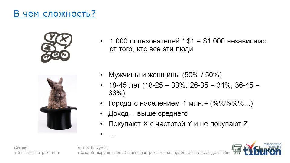 Секция «Селективная реклама» Артём Тинчурин «Каждой твари по паре. Селективная реклама на службе точных исследований» В чем сложность? 1 000 пользователей * $1 = $1 000 независимо от того, кто все эти люди Мужчины и женщины (50% / 50%) 18-45 лет (18-