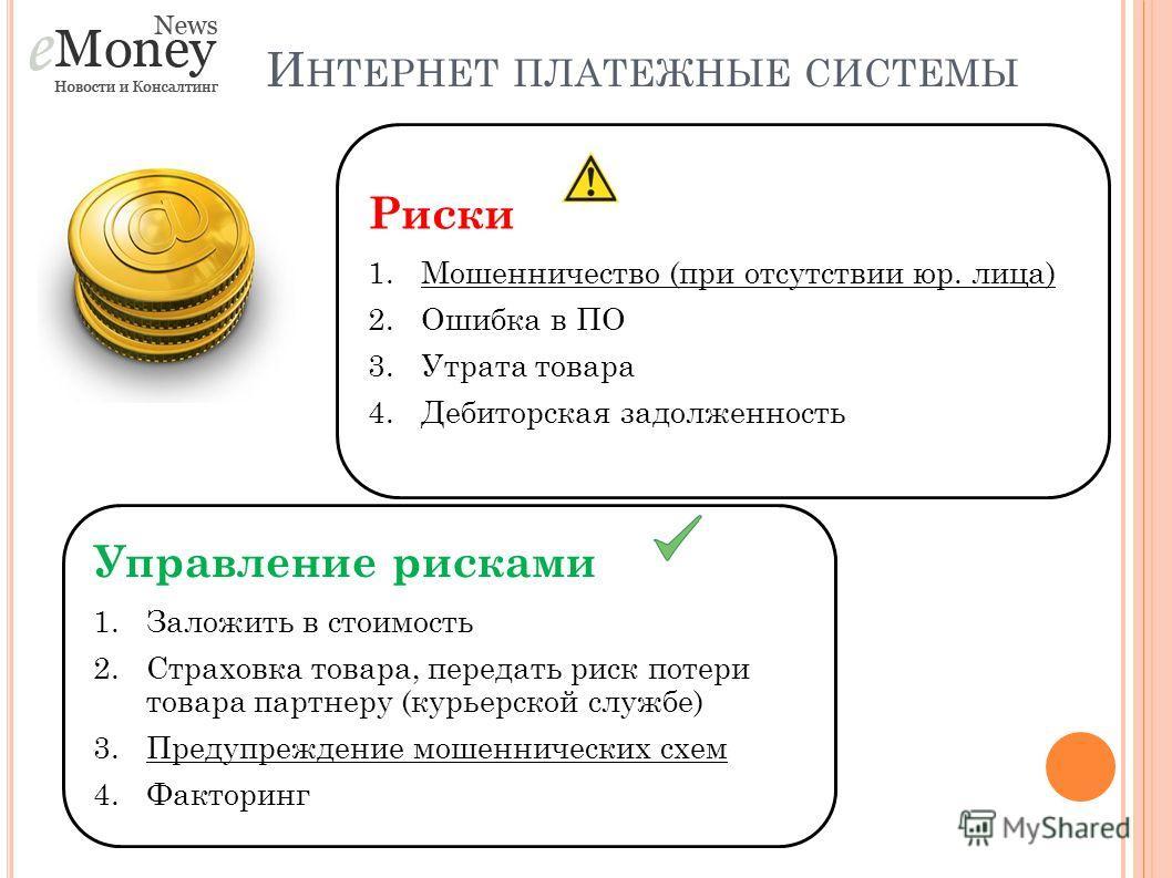 И НТЕРНЕТ ПЛАТЕЖНЫЕ СИСТЕМЫ Риски 1.Мошенничество (при отсутствии юр. лица) 2.Ошибка в ПО 3.Утрата товара 4.Дебиторская задолженность Управление рисками 1.Заложить в стоимость 2.Страховка товара, передать риск потери товара партнеру (курьерской служб
