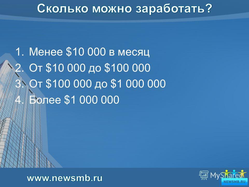 3 1.Менее $10 000 в месяц 2.От $10 000 до $100 000 3.От $100 000 до $1 000 000 4.Более $1 000 000