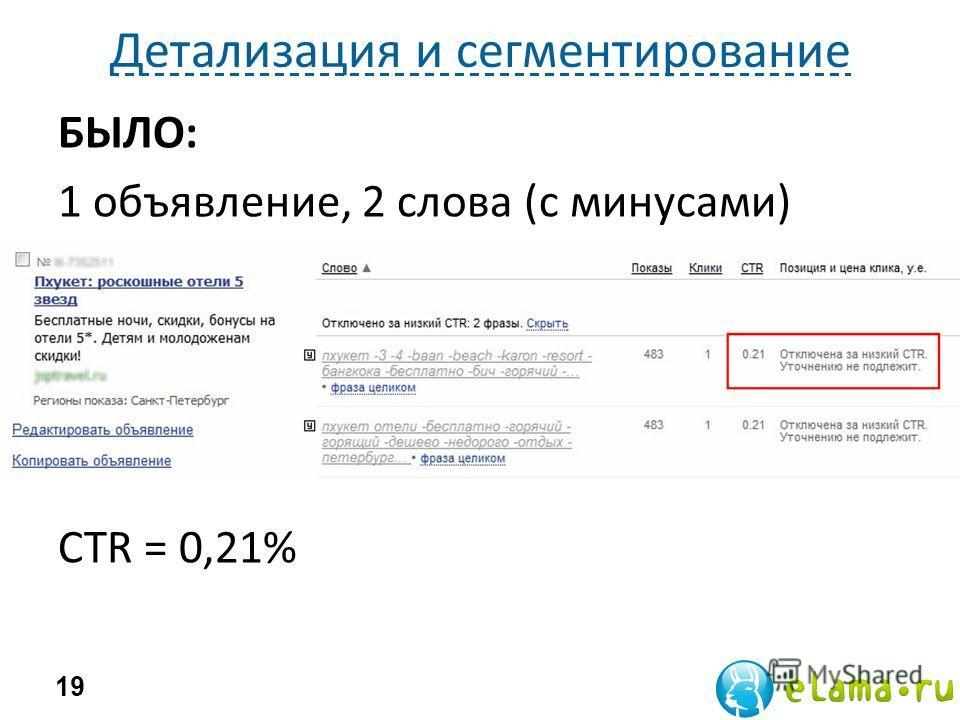 Детализация и сегментирование 19 БЫЛО: 1 объявление, 2 слова (с минусами) CTR = 0,21%