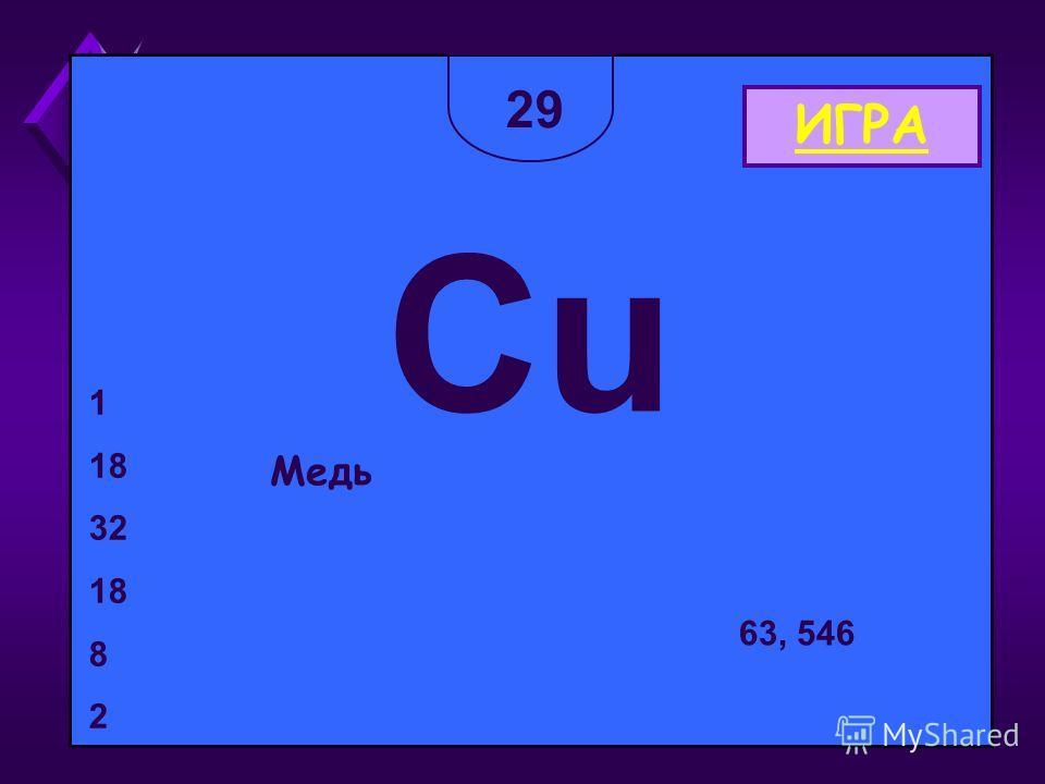 29 СuСu Медь 1 18 32 18 8 2 63, 546 ИГРА