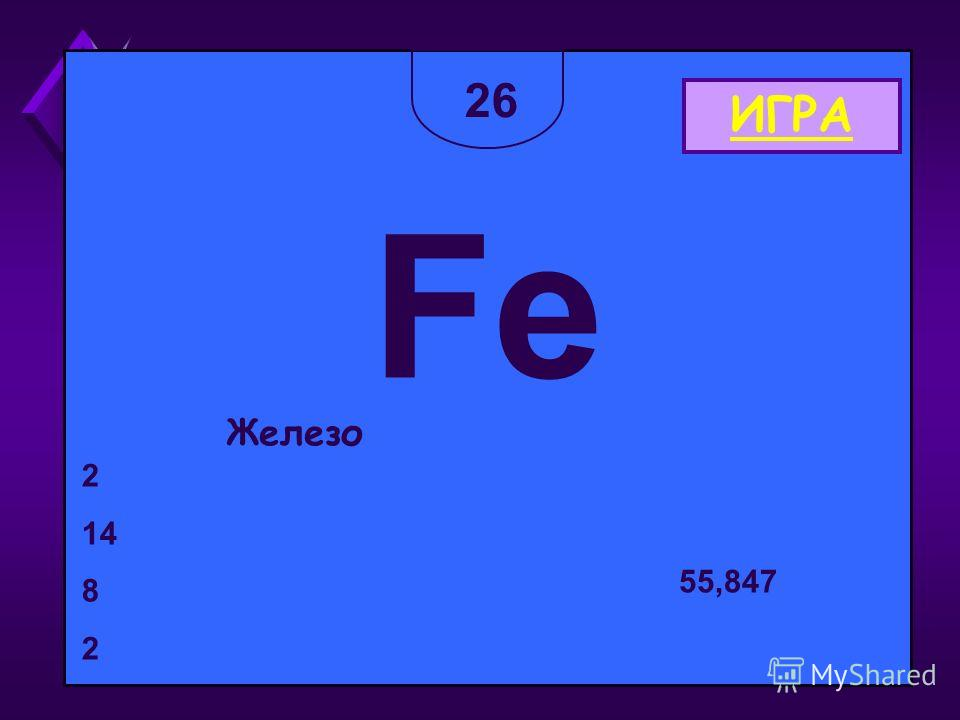 2626 Fe Железо 2 14 8 2 55,847 ИГРА
