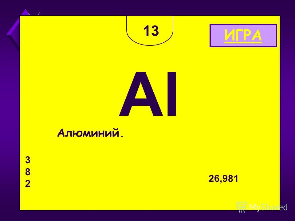 Алюминий. Al 26,981 382382 13 ИГРА
