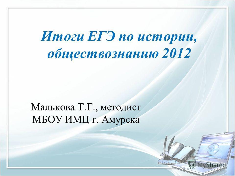 Итоги ЕГЭ по истории, обществознанию 2012 Малькова Т.Г., методист МБОУ ИМЦ г. Амурска
