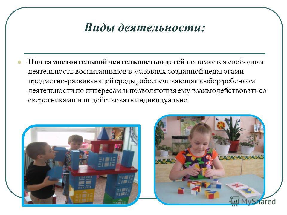 Виды деятельности: Под самостоятельной деятельностью детей понимается свободная деятельность воспитанников в условиях созданной педагогами предметно-развивающей среды, обеспечивающая выбор ребенком деятельности по интересам и позволяющая ему взаимоде