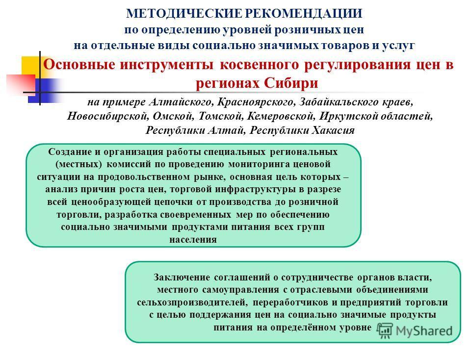 Основные инструменты косвенного регулирования цен в регионах Сибири МЕТОДИЧЕСКИЕ РЕКОМЕНДАЦИИ по определению уровней розничных цен на отдельные виды социально значимых товаров и услуг Создание и организация работы специальных региональных (местных) к