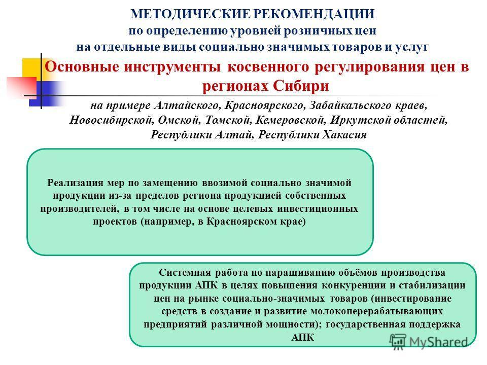 Основные инструменты косвенного регулирования цен в регионах Сибири МЕТОДИЧЕСКИЕ РЕКОМЕНДАЦИИ по определению уровней розничных цен на отдельные виды социально значимых товаров и услуг Реализация мер по замещению ввозимой социально значимой продукции