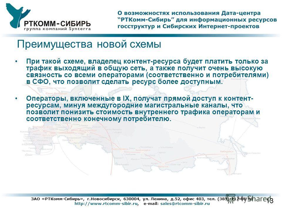 13 ЗАО «РТКомм-Сибирь», г.Новосибирск, 630004, ул. Ленина, д.52, офис 403, тел. (383) 212-06-69 http://www.rtcomm-sibir.ru, e-mail: sales@rtcomm-sibir.ru При такой схеме, владелец контент-ресурса будет платить только за трафик выходящий в общую сеть,