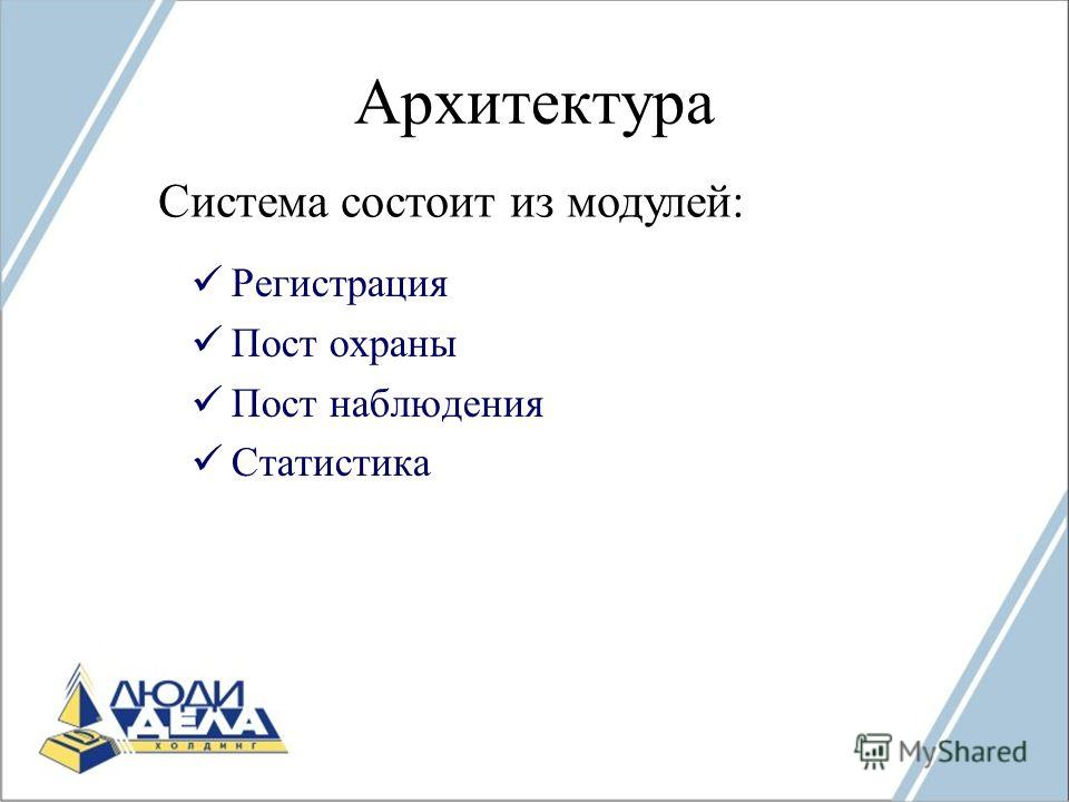 Архитектура Регистрация Пост охраны Пост наблюдения Статистика Система состоит из модулей: