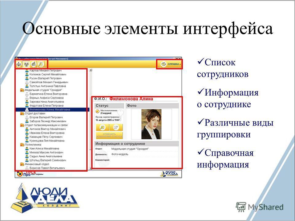 Основные элементы интерфейса Список сотрудников Информация о сотруднике Различные виды группировки Справочная информация