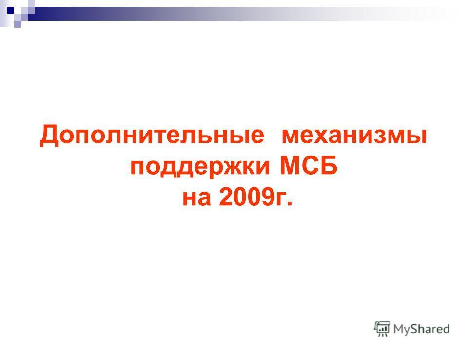 Дополнительные механизмы поддержки МСБ на 2009г.