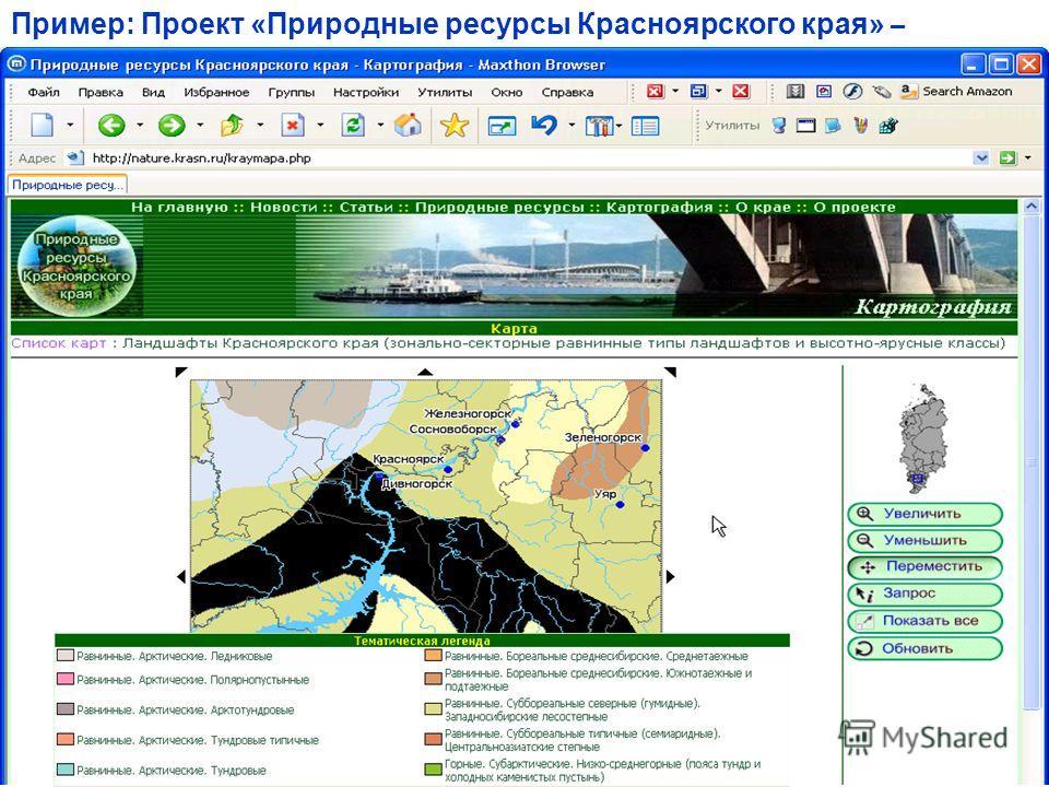 Пример: Проект «Природные ресурсы Красноярского края» –