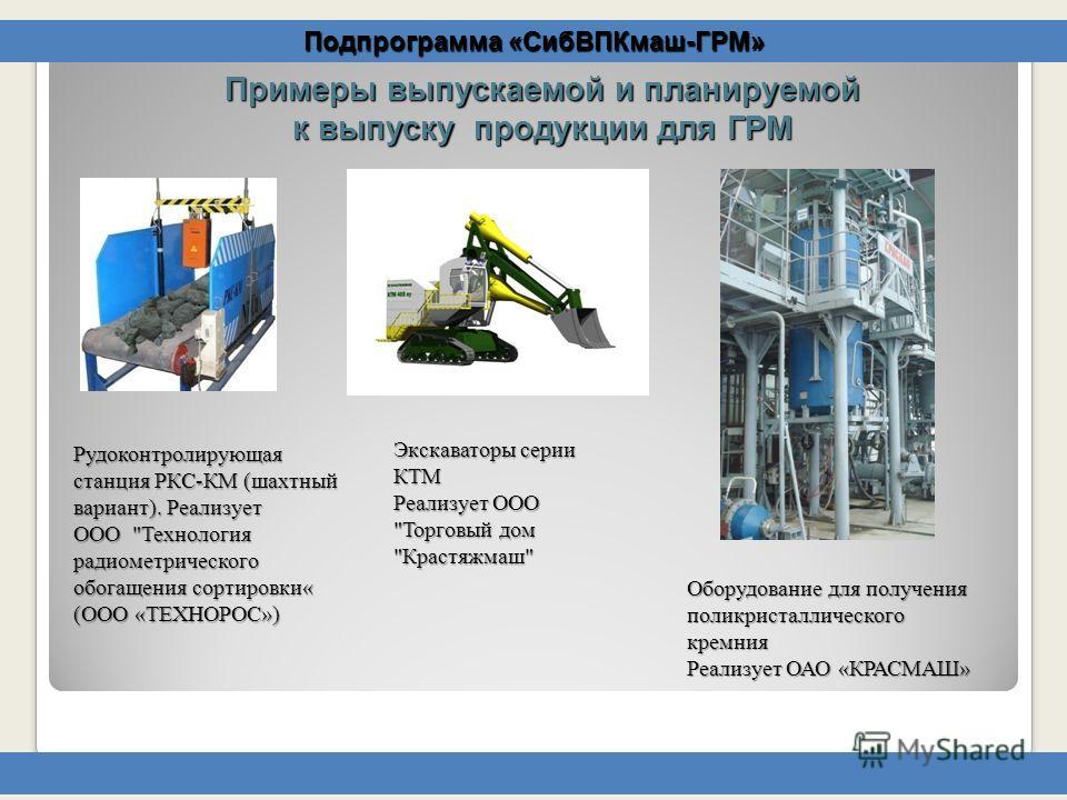 Подпрограмма «СибВПКмаш-ГРМ» Рудоконтролирующая станция РКС-КМ (шахтный вариант). Реализует ООО