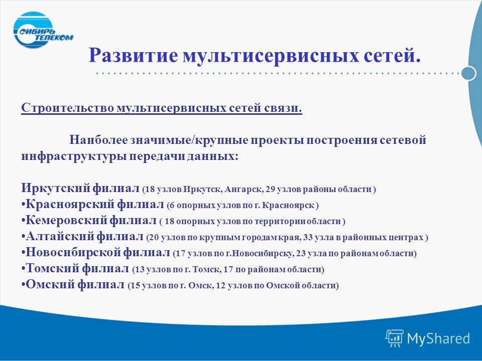 10 Развитие мультисервисных сетей. Строительство мультисервисных сетей связи. Наиболее значимые/крупные проекты построения сетевой инфраструктуры передачи данных: Иркутский филиал (18 узлов Иркутск, Ангарск, 29 узлов районы области ) Красноярский фил