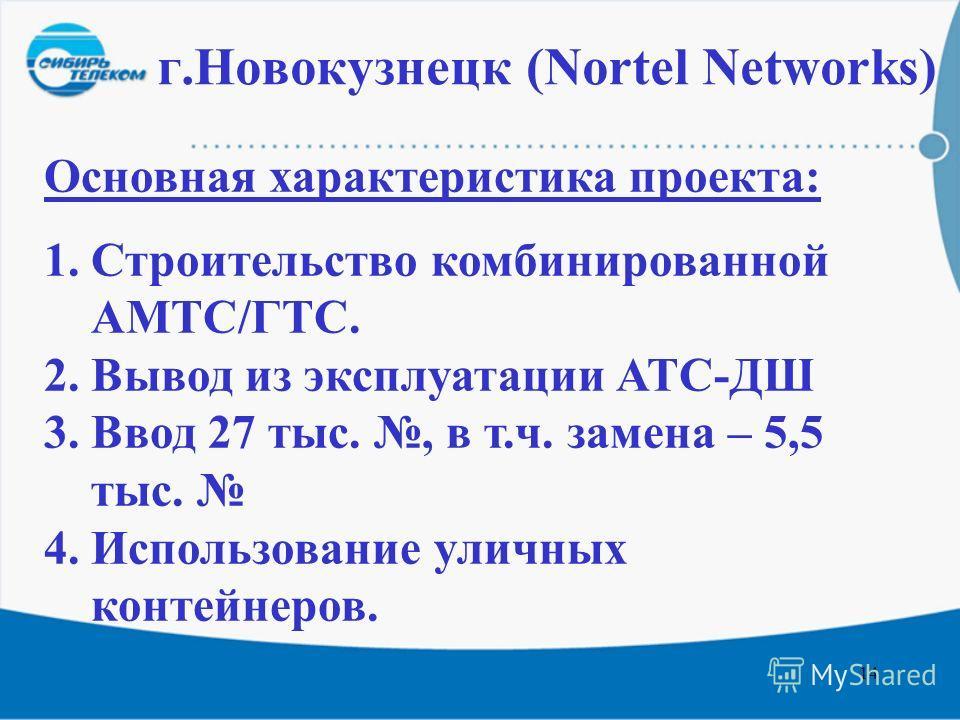 14 г.Новокузнецк (Nortel Networks) Основная характеристика проекта: 1.Строительство комбинированной АМТС/ГТС. 2.Вывод из эксплуатации АТС-ДШ 3.Ввод 27 тыс., в т.ч. замена – 5,5 тыс. 4.Использование уличных контейнеров.