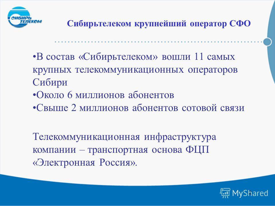 2 В состав «Сибирьтелеком» вошли 11 самых крупных телекоммуникационных операторов Сибири Около 6 миллионов абонентов Свыше 2 миллионов абонентов сотовой связи Сибирьтелеком крупнейший оператор СФО Телекоммуникационная инфраструктура компании – трансп