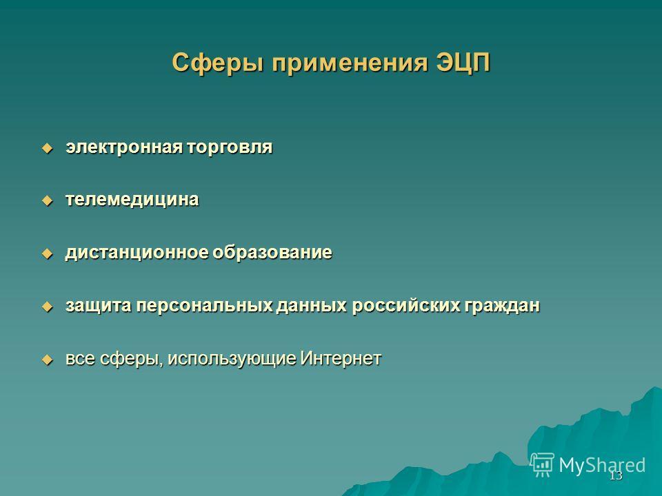13 Сферы применения ЭЦП электронная торговля электронная торговля телемедицина телемедицина дистанционное образование дистанционное образование защита персональных данных российских граждан защита персональных данных российских граждан все сферы, исп