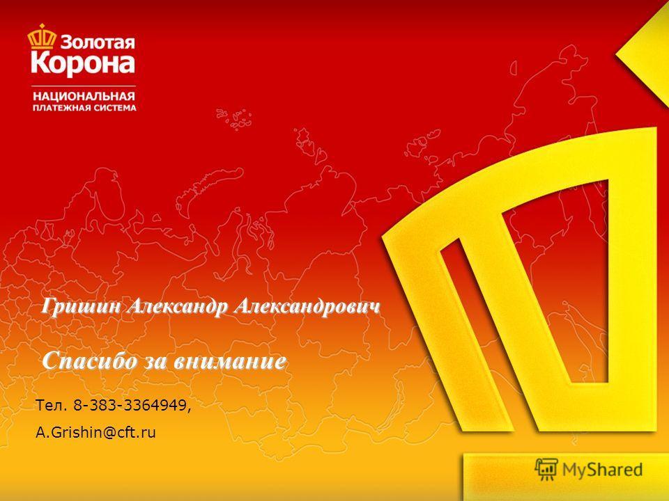 Спасибо за внимание Гришин Александр Александрович Тел. 8-383-3364949, A.Grishin@cft.ru