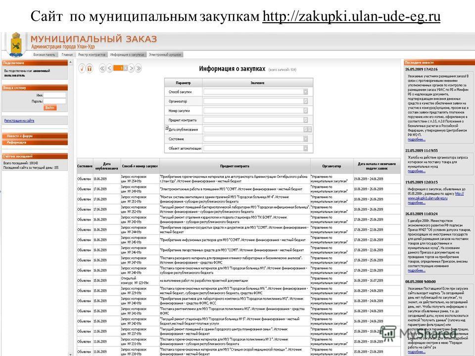 Сайт по муниципальным закупкам http://zakupki.ulan-ude-eg.ru
