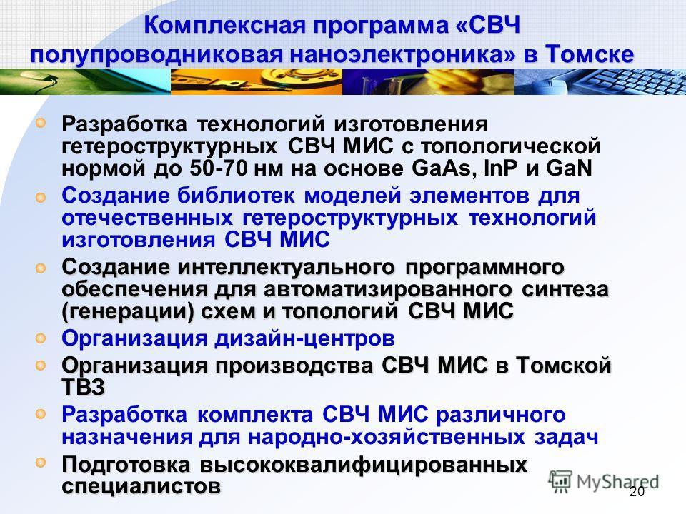20 Комплексная программа «СВЧ полупроводниковая наноэлектроника» в Томске Разработка технологий изготовления гетероструктурных СВЧ МИС с топологической нормой до 50-70 нм на основе GaAs, InP и GaN Создание библиотек моделей элементов для отечественны