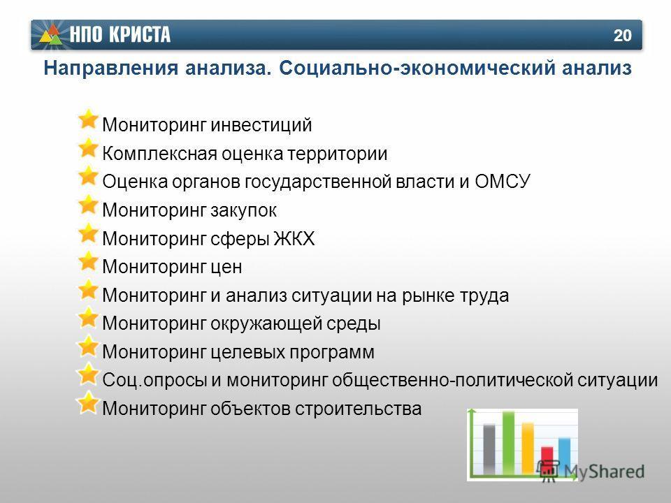 Направления анализа. Социально-экономический анализ 20 Мониторинг инвестиций Комплексная оценка территории Оценка органов государственной власти и ОМСУ Мониторинг закупок Мониторинг сферы ЖКХ Мониторинг цен Мониторинг и анализ ситуации на рынке труда