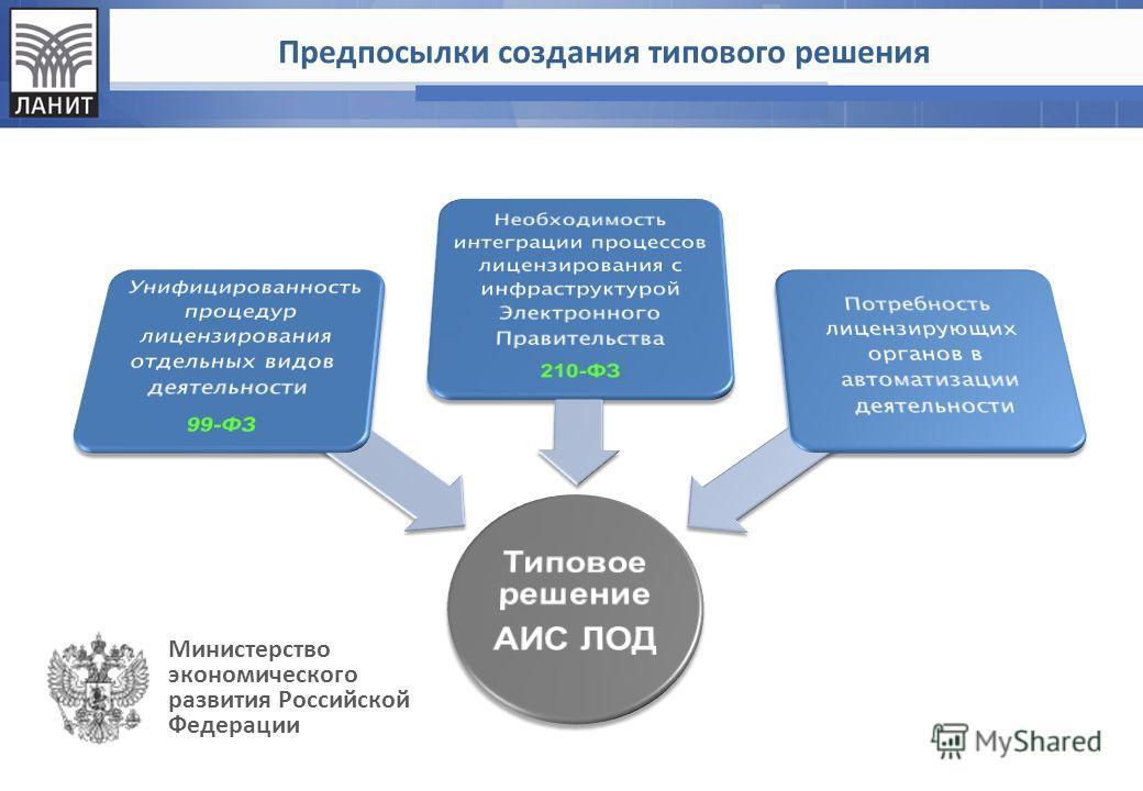 Предпосылки создания типового решения Министерство экономического развития Российской Федерации