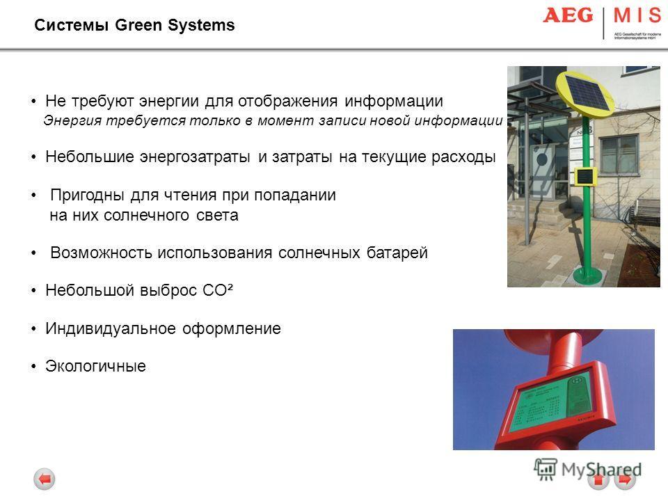 Системы Green Systems Не требуют энергии для отображения информации Энергия требуется только в момент записи новой информации Небольшие энергозатраты и затраты на текущие расходы Пригодны для чтения при попадании на них солнечного света Возможность и