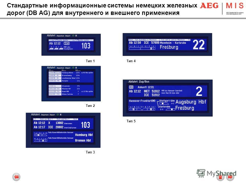 Стандартные информационные системы немецких железных дорог (DB AG) для внутреннего и внешнего применения Тип 1 Тип 2 Тип 4 Тип 5 Тип 3