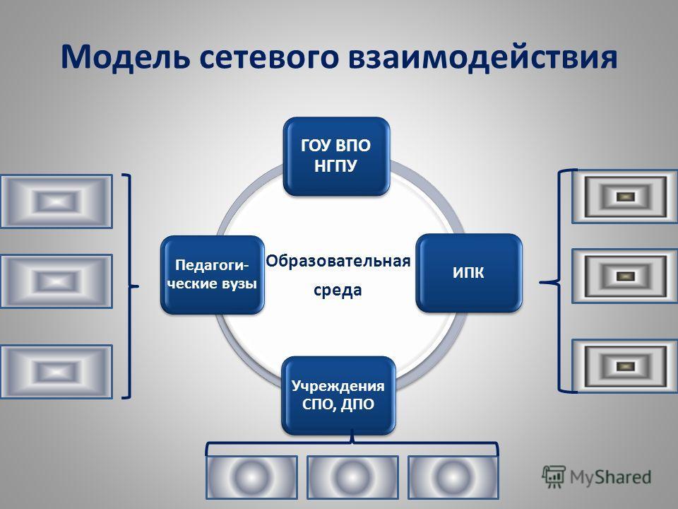 Модель сетевого взаимодействия Образовательная среда ГОУ ВПО НГПУ ИПК Учреждения СПО, ДПО Педагоги- ческие вузы