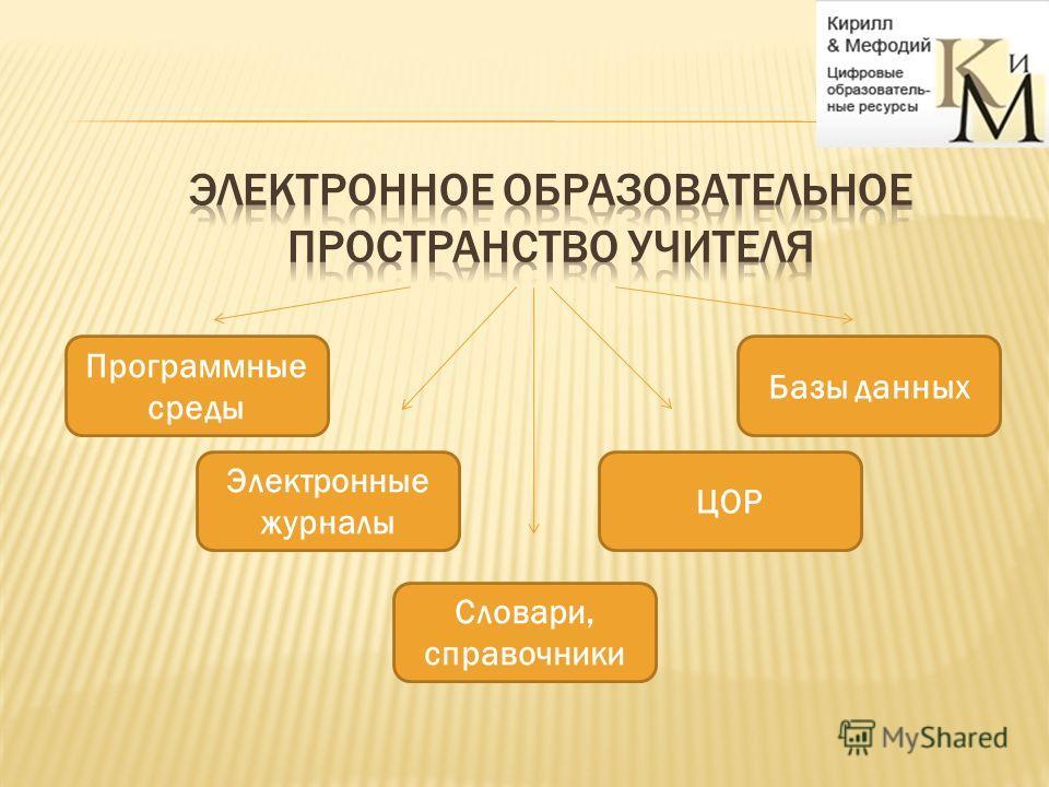 Программные среды Электронные журналы Словари, справочники ЦОР Базы данных