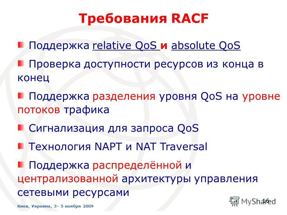 16 Требования RACF Поддержка relative QoS и absolute QoS Проверка доступности ресурсов из конца в конец Поддержка разделения уровня QoS на уровне потоков трафика Сигнализация для запроса QoS Технология NAPT и NAT Traversal Поддержка распределённой и