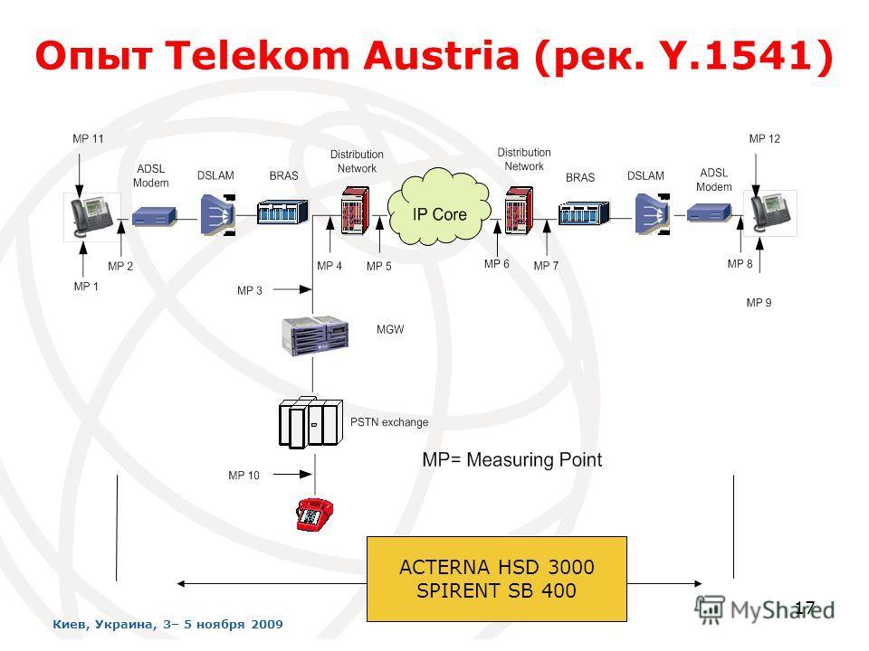 ACTERNA HSD 3000 SPIRENT SB 400 Опыт Telekom Austria (рек. Y.1541) 17 Киев, Украина, 3– 5 ноября 2009