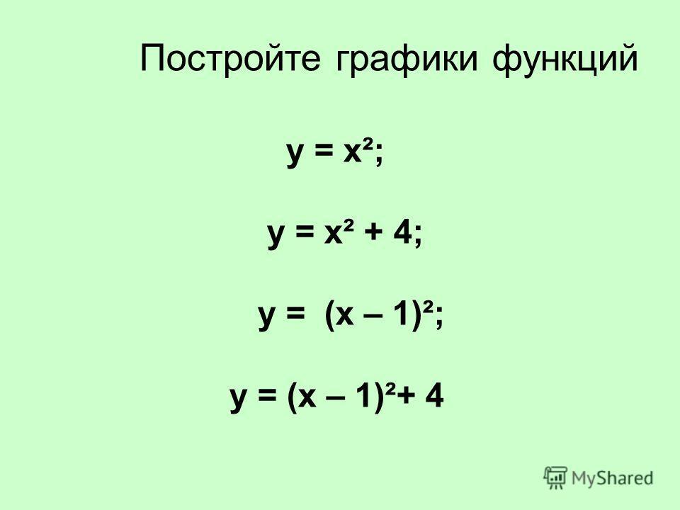 Постройте графики функций у = х²; у = х² + 4; у = (х – 1)²; у = (х – 1)²+ 4