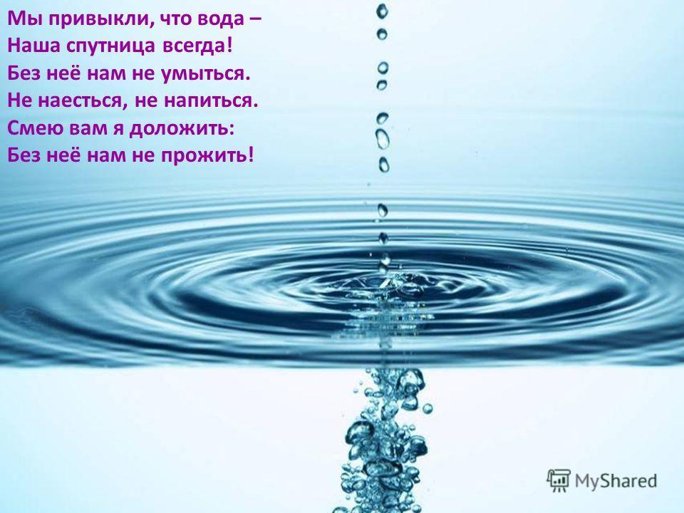 Мы привыкли, что вода – Наша спутница всегда! Без неё нам не умыться. Не наесться, не напиться. Смею вам я доложить: Без неё нам не прожить!