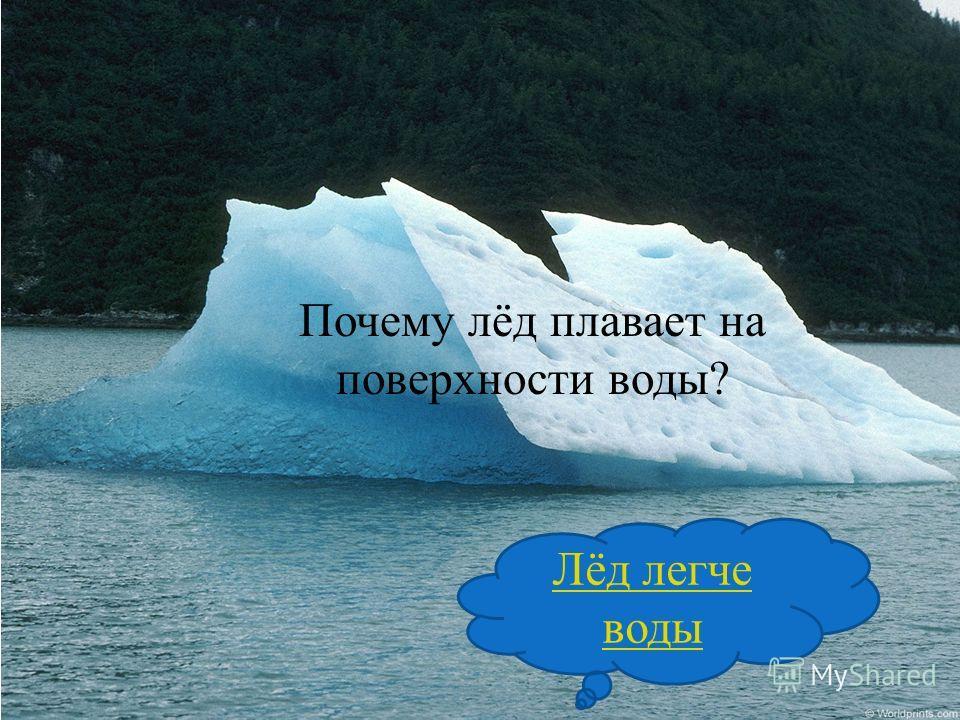 Почему лёд плавает на поверхности воды? Лёд легче воды