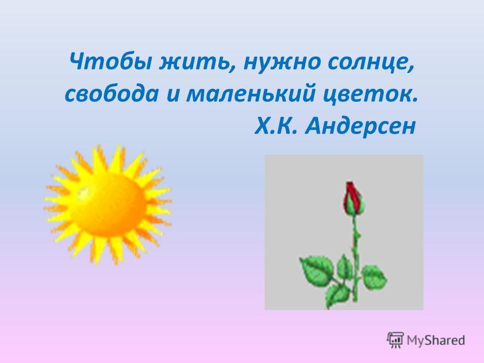 Чтобы жить, нужно солнце, свобода и маленький цветок. Х.К. Андерсен