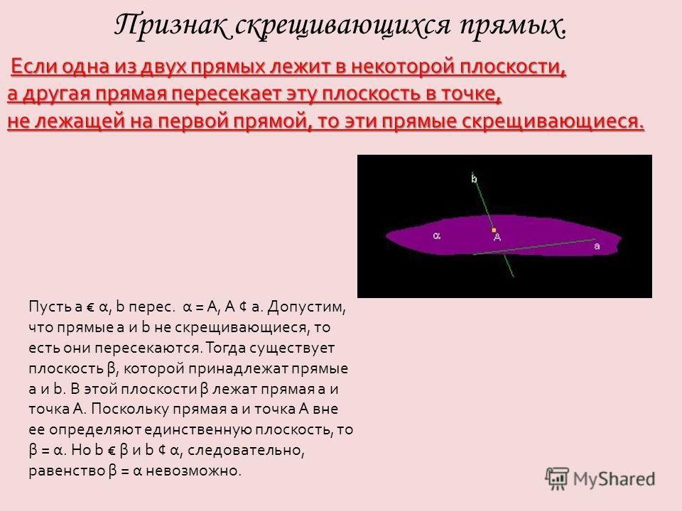 Если одна из двух прямых лежит в некоторой плоскости, а другая прямая пересекает эту плоскость в точке, не лежащей на первой прямой, то эти прямые скрещивающиеся. Признак скрещивающихся прямых. Пусть a α, b перес. α = A, A ¢ a. Допустим, что прямые a
