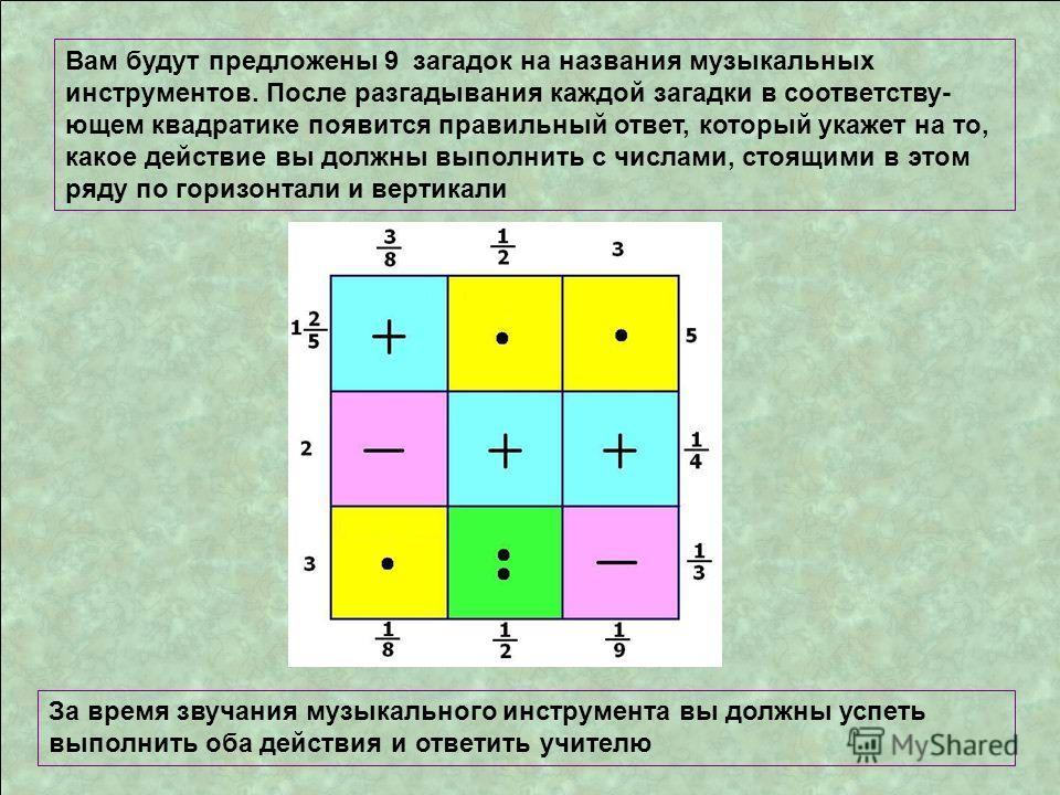 Вам будут предложены 9 загадок на названия музыкальных инструментов. После разгадывания каждой загадки в соответству- ющем квадратике появится правильный ответ, который укажет на то, какое действие вы должны выполнить с числами, стоящими в этом ряду