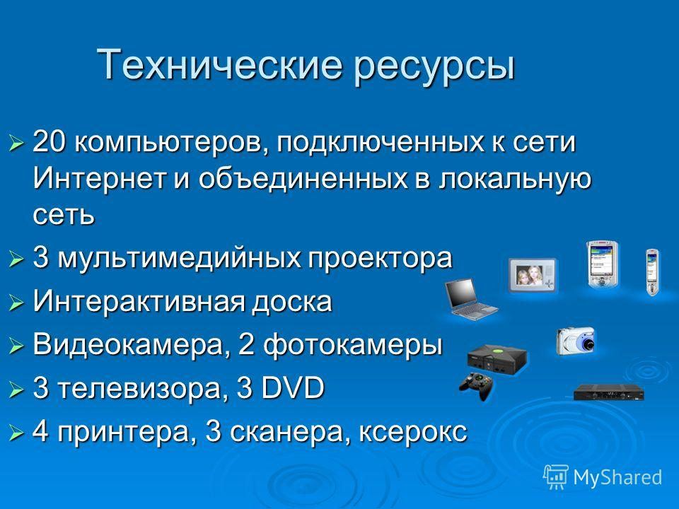 Технические ресурсы 20 компьютеров, подключенных к сети Интернет и объединенных в локальную сеть 20 компьютеров, подключенных к сети Интернет и объединенных в локальную сеть 3 мультимедийных проектора 3 мультимедийных проектора Интерактивная доска Ин